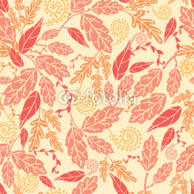 Naklejki Vector Fall Leaves Seamless Pattern background with various hand
