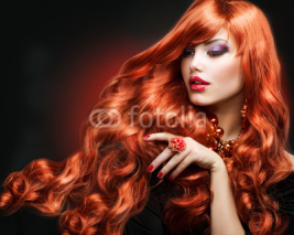 Obrazy i plakaty Red Hair. Fashion Girl Portrait. long Curly Hair