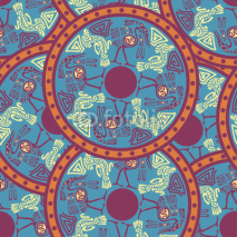 Naklejki Seamless aztec pattern with herons. Vector illustration