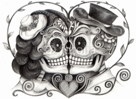 Naklejki Art Skull Day of the dead.Art design skull wedding in love action smiley face day of the dead festival hand pencil drawing on paper.