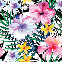 Naklejki exotic tropical floral watercolor pattern