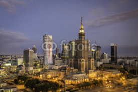 Obrazy i plakaty Warsaw downtown sunrise aerial view, Poland