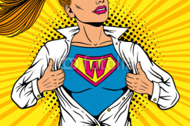 Fototapety Pop art female superhero. Young sexy woman dressed in white jacket shows superhero t-shirt with W sign means Woman on the chest flies smiling. Vector illustration in retro pop art comic style.