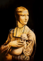 Obrazy i plakaty Unfinised reproduction in process of painting Lady with an Ermine by Leonardo da Vinci. Graphic effect.