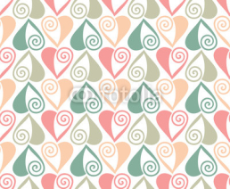 Naklejki Vector seamless pattern in pastel colors with hearts. Valentines day background
