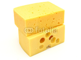 Fototapety piece of cheese isolated on a white background