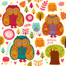 Obrazy i plakaty Vector seamless pattern with owls and trees