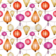 Fototapety Watercolor vector seamless chinese pattern