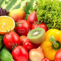 Naklejki collection fruits and vegetables background