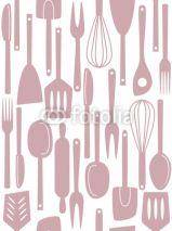 Obrazy i plakaty Kitchen utensils seamless pattern