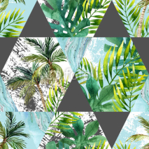 Fototapety Watercolor tropical leaves and palm trees in geometric shapes seamless pattern