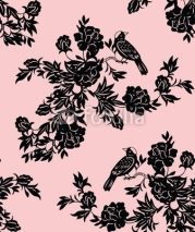 Fototapety Oriental floral and bird patterns