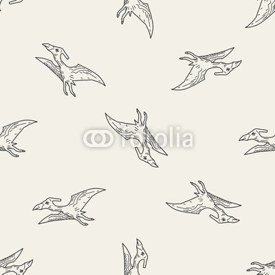 Pterodactyl dinosaur doodle seamless pattern background