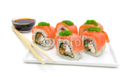 Fototapety rolls with a salmon on a plate on a white background close-up.