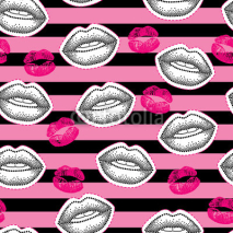Naklejki Vector seamless pattern with patch badges with lips and lipstick kiss on the striped background. Design elements and holiday symbols in trendy dotwork style. Romantic background for Valentine day.
