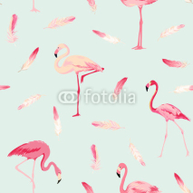 Naklejki Flamingo Bird Background. Flamingo Feather Background. Retro Seamless Pattern