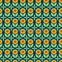 Fototapety Vector illustration of seamless pattern with sunflowers