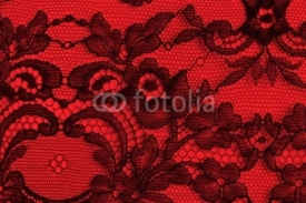 Naklejki Black and red fine lace texture