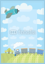 Obrazy i plakaty kid's frame with train and plane