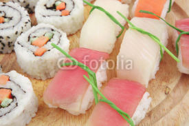 Fototapety Maki Roll with Deep Fried Vegetables inside and Nigiri sushi