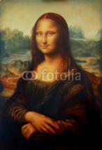Obrazy i plakaty Reproduction of painting Mona Lisa by Leonardo da Vinci and light graphic effect.