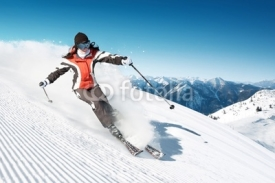 Fototapety Woman skiing in high mountains - modified piste