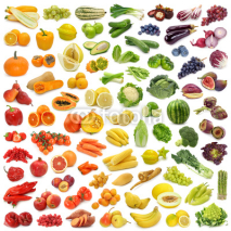 Naklejki Rainbow collection of fruits and vegetables