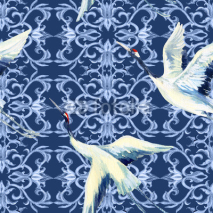 Fototapety Chinese watercolor seamless pattern
