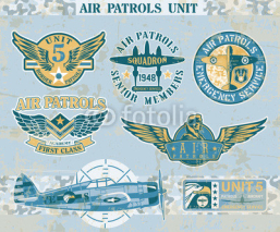 Naklejki Aviation vintage vector badges