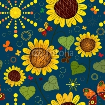 Naklejki Seamless floral dark blue summer pattern