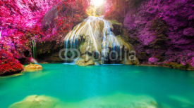 Naklejki wonderful waterfall with colorful tree in thailand