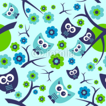 Obrazy i plakaty Seamless pattern with cute funny owls