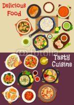 Seafood dishes icon for restaurant menu design