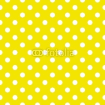 Naklejki Polka dots on yellow background seamless vector pattern
