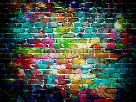 Fototapety graffiti brick wall