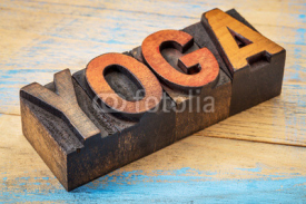 Fototapety yoga word in vintage wood type