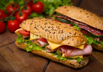 Sandwiches on the wooden table