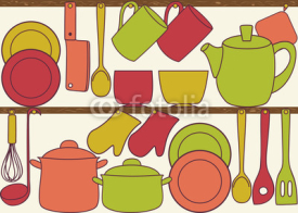 Obrazy i plakaty Kitchen utensils on shelves - seamless pattern