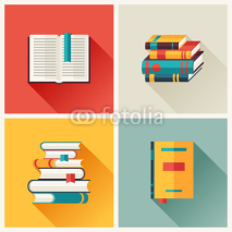 Obrazy i plakaty Set of book icons in flat design style.