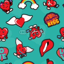 Obrazy i plakaty Valentines day love patch icon seamless pattern