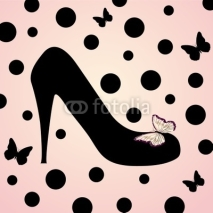 Naklejki pink fashion shoes background