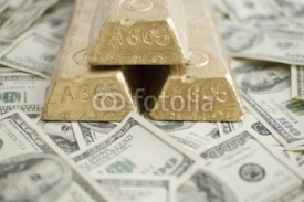 Fototapety Bills and Gold Bars