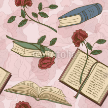 Naklejki Seamless pattern of books and flowers