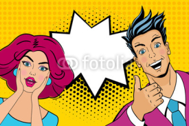 Fototapety Wow couple. Attractive surprised man and woman in pop art comic retro style with open mouths. Vector cartoon illustration.