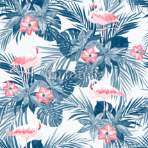 Naklejki Indigo tropical summer seamless pattern with flamingo birds and exotic flowers