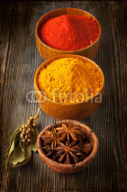 Naklejki Spices curry, paprika, bay leaf and star anise