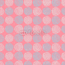 Naklejki Vector floral pattern with beautiful blue circle flowers, made of petals on pink background.