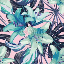 Obrazy i plakaty blue lily and leaves seamless background