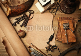 Set of old fashion elements with piece of leather and tattoo mac