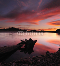 Fototapety Fiery sky on the river at New Zealand